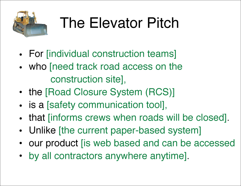 example elevator pitch