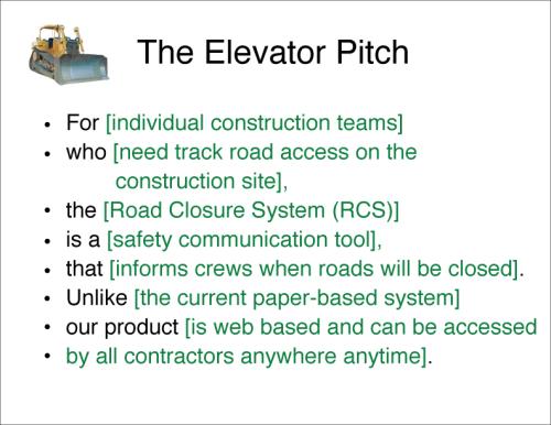 Agile inception Elevator pitch